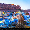 India - Rajasthan - Jodhpur - Blue City or Sun City - Walled city where many buildings are painted city's iconic shade of blue - Twilight - Blue Hour
