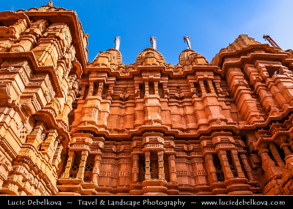 """India - Rajasthan - Jaisalmer - """"Golden City of India"""" - UNESCO World Heritage Site - Former medieval trading center in heart of Thar Desert - Jaisalmer Fort - Jain temple of Jaisalmer built by yellow sandstone during 12-16th century - Among most famous Jain temples in Rajasthan"""