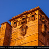 """India - Rajasthan - Jaisalmer - """"Golden City of India"""" - UNESCO World Heritage Site - Former medieval trading center in heart of Thar Desert, distinguished by its yellow sandstone architecture & Jaisalmer Fort dominating skyline - Sprawling hilltop citadel buttressed by 99 bastion"""