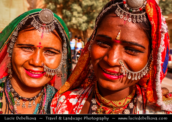 """India - Rajasthan - Jaisalmer - """"Golden City of India"""" - Former medieval trading center in heart of Thar Desert - Local woman with traditional jewelry"""