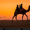 India - Rajasthan - Thar Desert - Great Indian Desert - Large arid region in northwestern part of India - Shapes & Shadows of Sand Dunes - One of largest sandy stretches in world - Camel riders at Sunset
