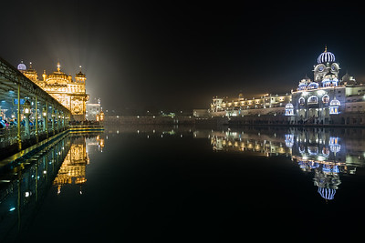 January 2018 - The Golden Temple in Amritsar, India. Night time reflections