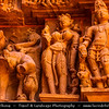India - Madhya Pradesh State - Khajuraho - UNESCO World Heritage Site - Khajuraho Medieval Hindu & Jain temples, famous for their erotic sculptures - One of the most popular tourist destinations in India