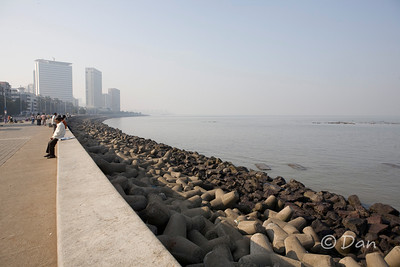 Marine Drive in Mumbai - you can see the Hilton Oberoi and other hotels in the background.