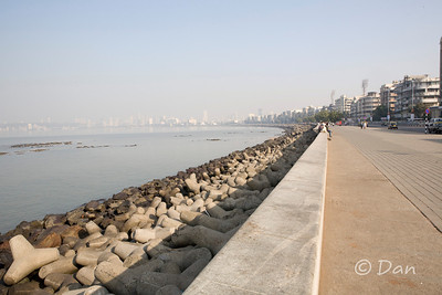 Marine Drive in Mumbai - you can see the expensive condos in the background on the left.
