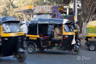 closeup of a rickshaw.