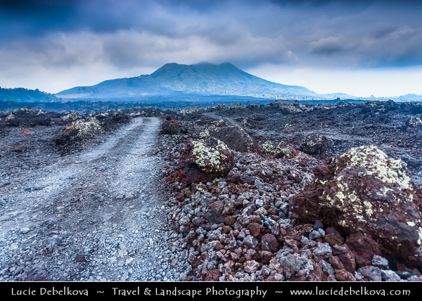 Indonesia - Bali Island - Lava Field around Mt Batur Volcano - Mount Batur (Gunung Batur) - Active volcano located at the center of two concentric calderas north west of Mount Agung