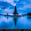 Indonesia - Bali Island - Pura Ulun Danu Temple at Lake Bratan at Dawn - Twilight - Blue Hour - Temple of the Lake Goddes at Bratan is one of Bali's most visited and most spiritually important balinese temple