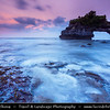 Indonesia - Bali Island - Sunset at Pura Batu Bolong - Small shrine located just a stone's throw from the famous Tanah Lot temple perched at the end of a rocky promontory that leaps seaward into the surging Indian Ocean
