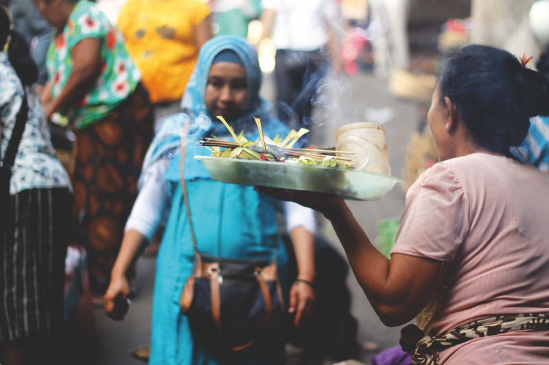 Early morning offerings in the markets of Ubud. October 2015