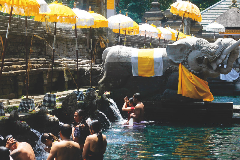 Tirta Empul temple. The temple pond contains a spring where the Balinese Hindus come to bath because they believe the water is holy. October 2015