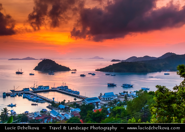 Indonesia - Flores Island - Sunset at Labuan Bajo - Small & pretty harbor on the western-most tip of the island of Flores - Entry point to the Komodo National Park (KNP) and the wonders of  the island of Flores