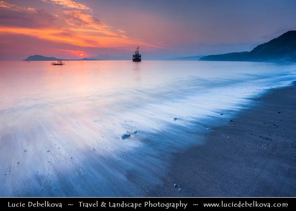 Indonesia - Flores Island - Ende - Sunset on black sand volcanic beach