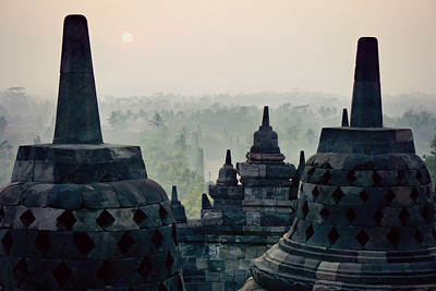 Borobudur at Sunrise. This Buddhist temple was constructed in 9th century and is in Central Java.