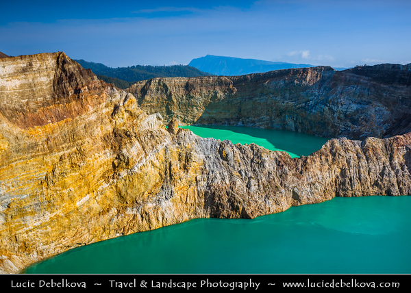 Indonesia - Flores Island - Kelimutu - The Three Colors Lake - Known for its three colors, namely red, blue and white. Even so, the colors are always changing with the passage of time. Current colors of the three lakes that are black, turquise blue and the other is green