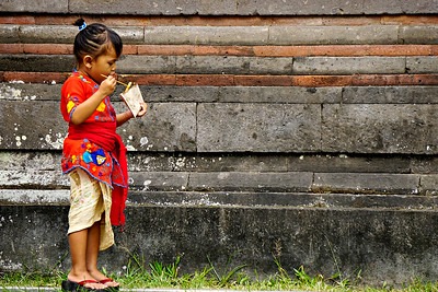 Girl at temple festival, Ubud Bali, Indonesia