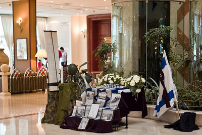 A display in observance of Yom HaZikaron in our hotel