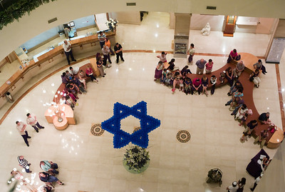 Everyone gathered in the lobby on Erev Yom HaAtzmaut