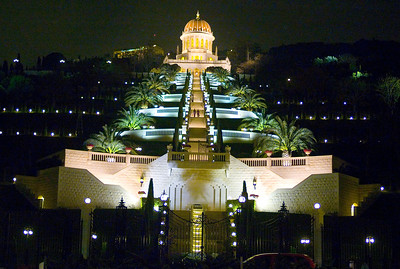 The Bahai Temple at night