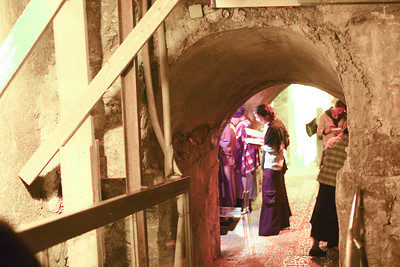 Ladies praying at the section of the wall in the underground tunnel
