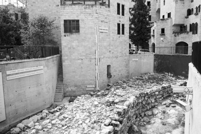 The remains of Solomon's wall. The measure near the center shows the original heihgt of the wall