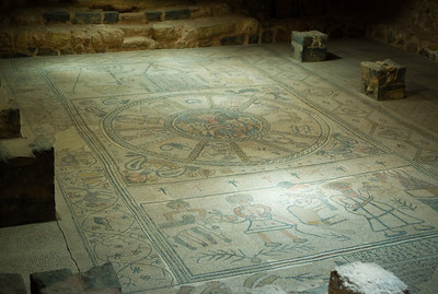 We paused at the remains of a hillside community - the floor of the old synagogue of Beit Alpha at Kibbbutz Heftzibah is this mosaic depicting the binding of Isaac.