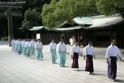 Traditional Tokyo: Meiji Shrine - Dedicated to the deified spirits of Emperor Meiji and his consort, Empress Shoken. 10AM march to the inner temple.