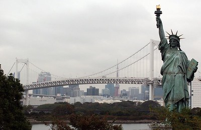 2nd replica of Statue of Liberty (the first one being in Paris). Tokyo TV tower (reddish) in the background).