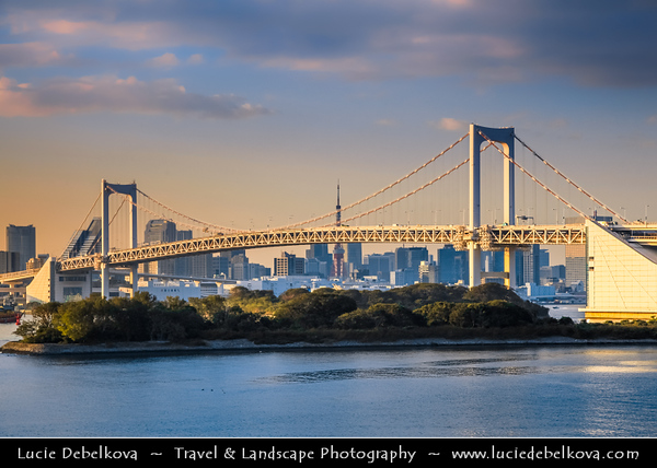 Japan - Honshu Island - Tokyo - 東京 - Tōkyō - Odaiba - お台場 - View of central Tokyo from large popular shopping and entertainment district on an artificial man made island in Tokyo Bay, across the Rainbow Bridge