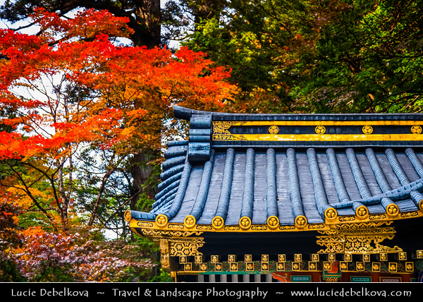 Japan - Honshu Island - Tochigi Prefecture - Nikkō - Shrines and Temples of Nikko - UNESCO World Heritage Site - Shinto shrines & Buddhist temple with their natural surroundings have for centuries been a sacred site known for its architectural and decorative masterpieces - Captured at fall foliage - rich autumn colors ranging from yellow, orange to deep red
