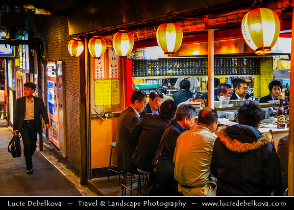 Japan - Honshu Island - Tokyo - 東京 - Tōkyō - Shinjuku - 新宿区 - Shinjuku-ku - Major commercial & administrative centre, housing the busiest train station in the world - Yakitori Ally - Omoide Yokocho - Traditional life in this tiny street with cramped bars, yakitori stalls and restaurants - Hidden gem between the train tracks and Shinjuku station