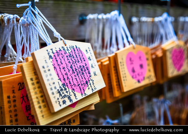 Japan - Honshu Island - Tochigi Prefecture - Nikkō - Shrines and Temples of Nikko - UNESCO World Heritage Site - Shinto shrines & Buddhist temple with their natural surroundings have for centuries been a sacred site known for its architectural and decorative masterpieces - Ema - 絵馬 - Little wooden plaques for people to write their prayers and wishes