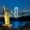 Japan - Honshu Island - Tokyo - 東京 - Tōkyō - Odaiba - お台場 - View of central Tokyo from large popular shopping and entertainment district on an artificial man made island in Tokyo Bay, Statue of Liberty replica & Rainbow Bridge