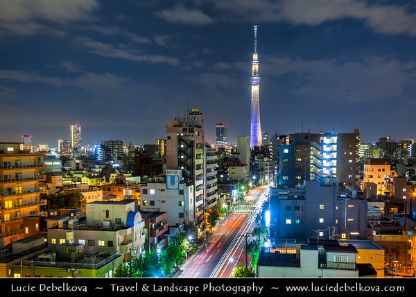 Japan - Honshu Island - Tokyo - 東京 - Tōkyō - Asakusa - 浅草 - Cityscape with Tokyo Skytree - 東京スカイツリー - Tōkyō Sukaitsurī - Broadcasting, restaurant, and observation tower - tallest structure in Japan in 2010 - Full height of 634.0 metres (2,080 ft) in March 2011, making it the tallest tower in the world & second tallest structure in the world after Burj Khalifa (829.8 m/2,722 ft)