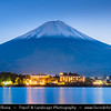 Japan - Honshu Island - Yamanashi Prefecture - Kawaguchiko - 河口湖 - Kawaguchi-ko - Lake Kawaguchi at the base of Mount Fuji - Second largest of the Fuji Five Lakes located in Fujikawaguchiko - Iconic View of Mount Fuji - 富士山 - Fuji-san - Well-known symbol of Japan - Active stratovolcano - last erupted in 1707–08, lies about 100 kilometres (62 mi) south-west of Tokyo