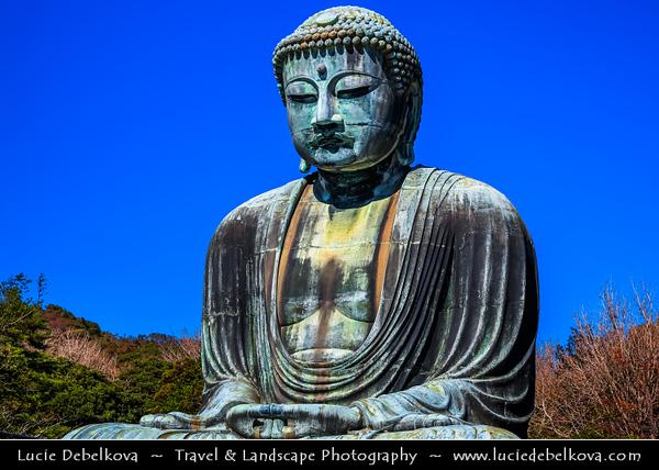 Japan - Honshu Island - Kanagawa Prefecture - Kamakura - 鎌倉市 - Kamakura-shi - Kōtoku-in - 高徳院 - Buddhist temple of the Jōdo-shū sect renowned for its Great Buddha - 大仏 - Daibutsu - Monumental outdoor bronze statue of Amida Buddha - One of the most famous icons of Japan