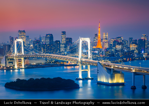 Japan - Honshu Island - Tokyo - 東京 - Tōkyō - Odaiba - お台場 - View of central Tokyo from large popular shopping and entertainment district on an artificial man made island in Tokyo Bay, across the Rainbow Bridge taken from the Fuji-TV Building