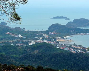 A view of Kuah Town from Mount Raya, the highest mountain on the islands of Langkawi.