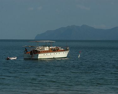 The Datai's boat with Thailand in the distance.