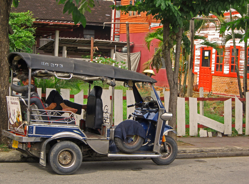 The common Tuk Tuk  these noisy, smoky three wheel bikes will take you to your destination quickly using alleys, parking lots, back streets and various other means. Prices need to be established before you get in.