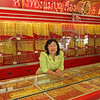 Gold is sold in shops owned by chinnese merchants and are always painted red