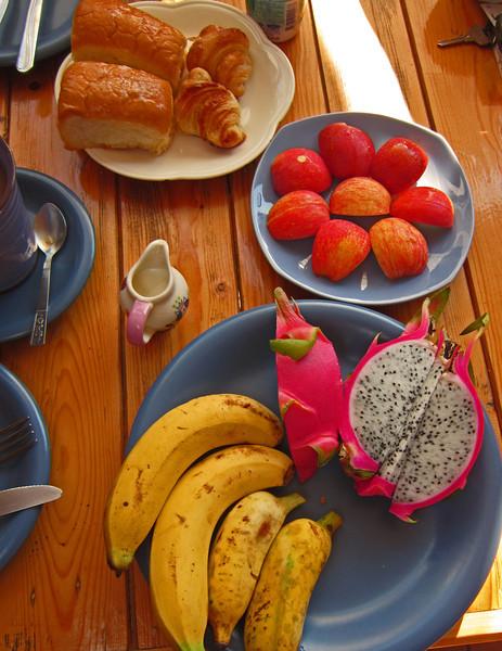 Breakfast was fresh rolls, fruit and coffee