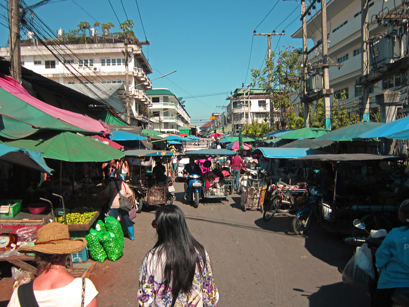 Chang Mai fresh food market.  Chang mai is the main commercial center for northern Thailand.  Know as Lana Thai, norther Thailand has a distinct and different culture. It is a city of about 2 million that has both old and new mixing together in commerce and trade.