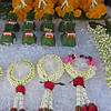 These flowers and arrangements are sold dailey on the street and placed at temples for offeriings.