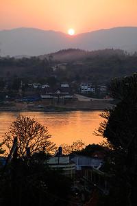Huay Xai, Laos Sun setting over the Mekong River in Huay Xai.