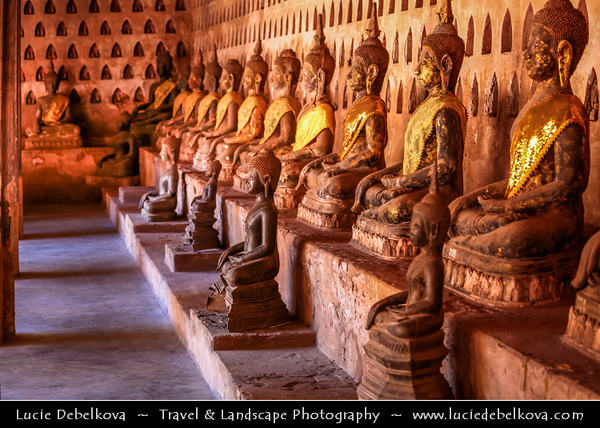 Asia - Laos - Vientiane - Viang chan - Capital city of Laos situated on relaxing riverbank of Mekong River - Wat Sisaket - Wat Sisaketsata Sahatsaham - Vientiane's oldest Buddhist monastery built by King Chao Anouvong in 1818 with inner sanctuary containing large number of Buddha statues