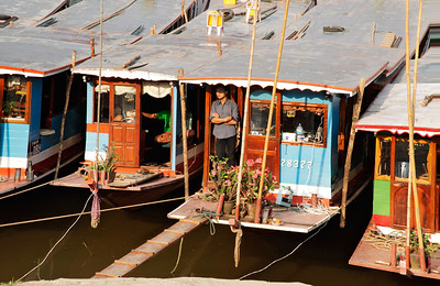 Huay Xai, Laos Boats lined up along the banks of the Mekong in Huay Xai, northern Laos.