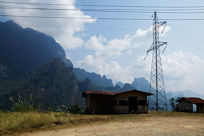 Laos Power lines often ran across the rugged mountain scenery in northern Laos.