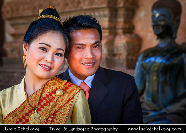 Asia - Laos - Vientiane - Viang chan - Capital city of Laos situated on relaxing riverbank of Mekong River - Haw Phra Kaew - Ho Phra Keo - Haw Phra Keow - Ho Prakeo - Ho Phra Kaew - Temple of the Emerald Buddha - Former royal temple of the Lao monarchy - Traditional Lao Wedding