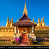 Asia - Laos - Vientiane - Viang chan - Capital city of Laos situated on relaxing riverbank of Mekong River - Pha That Luang - The Great Stupa - Gold-covered large Buddhist stupa - Most important national monument & symbol of Buddhist religion